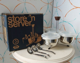 10 Piece Mid Century Foley Store 'n Server Stainless Steel FREE SHIPPING