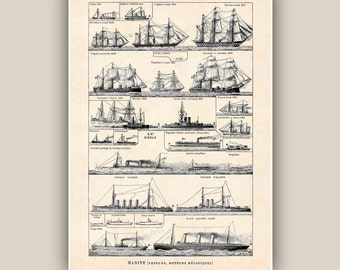 Nautical Print 11''x14'', Vintage sailboats,  steamers, mechanical motor boats images, Marine Wall Decor,  Nautical art,beach cottage decor