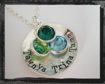 Personalized Birthstone Necklace - Family Names - Textured Charm
