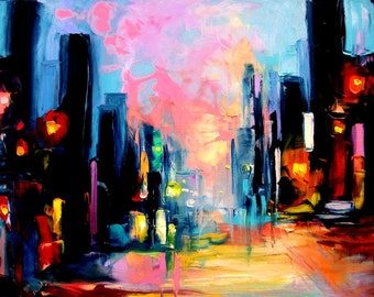 Print of original oil painting reproduction by Aja - Faces of the City 148 20x30