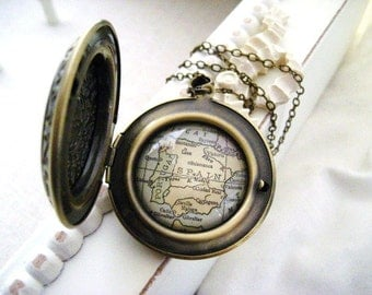 Spain & Portugal Map Locket  Necklace