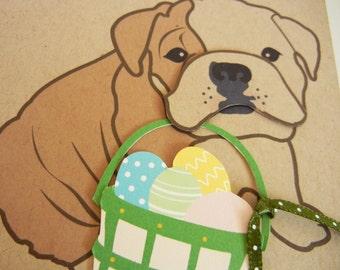 Easter Spring Boris the English Bulldog Basket of Eggs Note Card Paper Applique Egg with Envelope