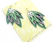 Green Hand Cut Leather Layer Earrings