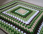 Baby Granny Square  Blanket Crochet in Greens, Browns and White Ready to Ship
