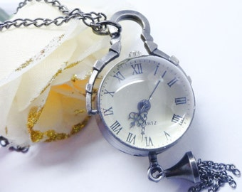 Double Sided Glass Silver Bubble Pocket Watch with 28 Inch Curb Chain