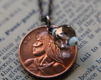 Panama Necklace with Swarovski and Vintage Coin