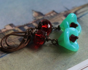 Dangle Earrings, Beaded Earrings, Turquoise, Red, Trumpet Flower, Crystal, Spring Summer, Gifts for Her, Sparkle, Wedding, Party