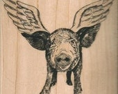 small  When pigs fly   wood mounted rubber stamp   number 9505 wings angel animal farm sow craft