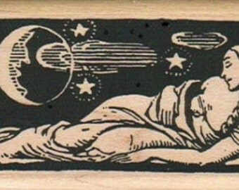 Sleeping Lady Moon rubber stamps place cards gifts  unmounted  number 4352