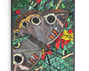 Glass Mosaic Art, Butterfly Art, Mixed Media Wall Art,  Mangrove Buckeye Tropical Butterfly, Artisan Handcrafted Smalti Stained Glass
