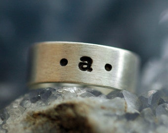 Lowercase Letter Band - Brushed Matte Ring for Men or Women - Made in Sustainable Silver