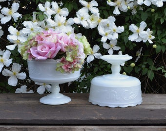 Two Matching Vintage Milk Glass Compotes - Silk Creek Gallery
