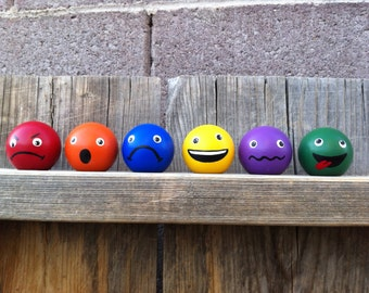 """Color Bubbles- set of 6 color emotions learning knobs- 1.5"""" - Waldorf PegBuddies"""