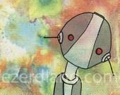 adopt a robot (zone), robot art, robot painting, original artwork, lowbrow art, scifi art, nursery art, cute robot, robot illustration