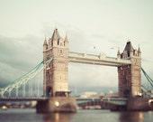 "London Tower Bridge, London Photography, British Decor, Thames River, England Art Print, Travel Photography ""Two Towers"""