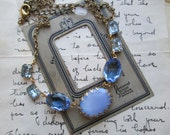 "pale blue vintage rhinestone necklace, assemblage necklace, art nouveau, blue layering necklace. ""Emma"""