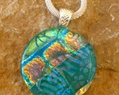 Green Dichoric Pendant, Fused Glass Jewelry, Round Fused Glass Pendant, Dichroic Fused Glass Pendant - Patterns on Green