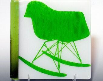 SALE Fused Glass Mod Rocker Trivet fern