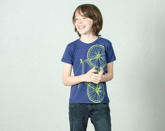 youth FIXIE TSHIRT 12 bicycle screen printed bike tee lime green on indigo blue size 12