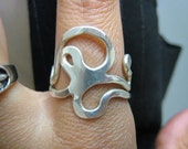 Sterling Silver Modernist Signed Abstract Ring
