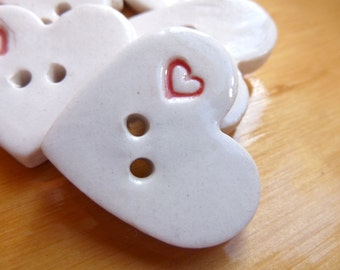 Porcelain Heart Shaped Buttons with Red Heart -- Set of Six