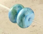 Powder Blue and Green Handmade Lampwork Glass Bead Pair 17x9mm Sea Breeze