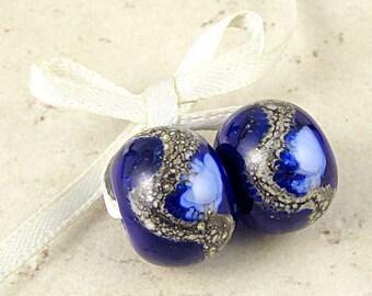 Dark Blue Handmade Lampwork Glass Bead Pair 14x11mm Midnight and Periwinkle