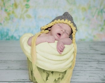 Pixie bonnet hand knit baby girl hat grey gray yellow fabric ribbon trim ties unique newborn photography photo prop RTS