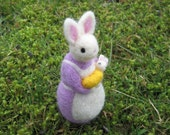 Felted Mom and Baby Bunny - Light Purple