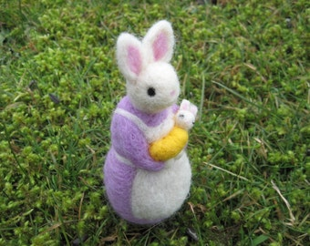 Needle Felted Mom and Baby Bunny - Light Purple