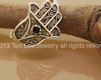 SALE Favorite Filigree Hamsa with Sapphire