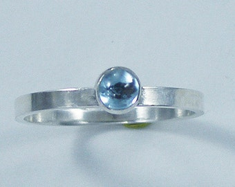 Sterling Silver Natural Gemstone Ring, Custom Order