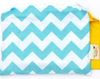 Small 9 x 7 Wet bag / Snack / Swim / Diapers / Riley Blake Aqua Chevron and Yellow Fabric / SEALED SEAMS and Snap Strap