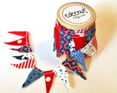 Patriotic Cake Bunting wooden spool. Red White Blue fabric mini Ribbon. 4th of July cake topper.