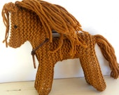 Earth pony, Childrens Toy,  Waldorf Toy Stuffed Animal Horse, hand knit Natural -  Benefits Horse Rescue