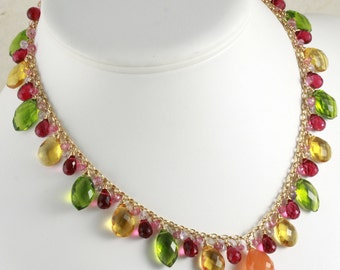 FINAL SALE - Carnelian Green, Yellow and  Red Quartz Charm Statement Necklace & Earrings Set