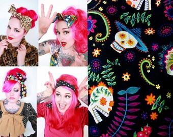 Dia De Los Muertos Bow Bandana Head Wrap -Retro Rockabilly