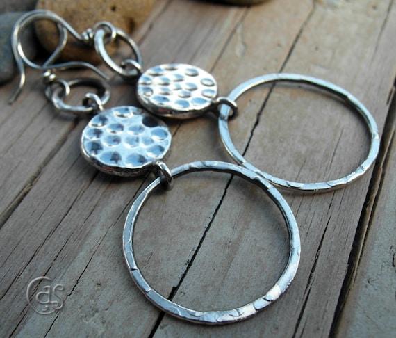 Hammered Hoop Earrings 999 Fine Silver Hoops