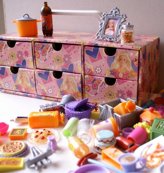 Vintage Barbie Box With Accessories Food Kitchen