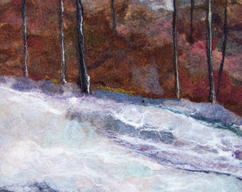 No.746 Spring Snow - Needlefelt Art XL - Wool Painting