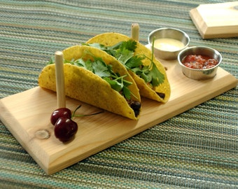 Taco Plank - cedar serving plate with stainless steel  cups