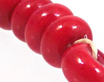 Cherry Red Spacers, 6 glass beads