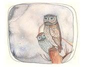 Owl Art Print - Owl Print - Animal Art - Nursery Art - Owl Art - Print of Painting - 5x7 Print - Peek - A - Whoo