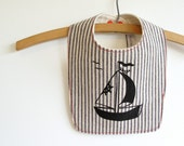 Organic bib, Nautical, Sailboat, Stripes