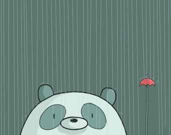 Pandas in the Rain Art Print
