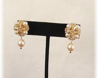 Classic Champagne Wedding Post Earrings, Crystal and Pearl Beaded Post Earrings, Swarovski Golden Shadow , Crystal and Pearl Earrings
