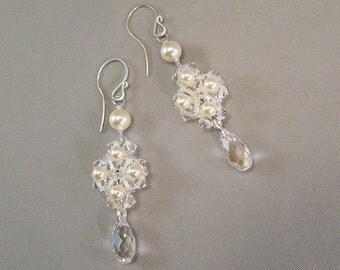 Regal Cream Pearl and Crystal Wedding Earrings, Ivory Weddings, Formal Bridal Earrings, Teardrop Dangle Earrings, Bridal Wear Earrings