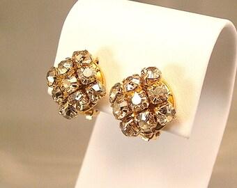 Golden Shadow Swarovski Diamante Clip On Earrings, Harlequin Button Earrings, Crystal Clip On Earrings, Non-Pierced Earrings