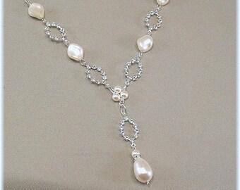 White Pearls - Dainty Rhinestone Pearl Drop Wedding Necklace, Rhinestone Diamond Crystal Ovals, Y Necklaces, Bridesmaid Necklaces