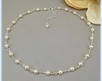 Bridal Necklace, Classic Cream Pearl and Crystal Handwired Necklace, Available with White or Cream Pearls